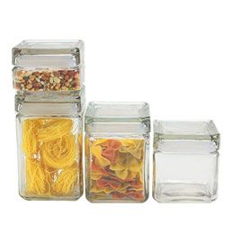 The Container Store > Stackable Square Glass Canisters