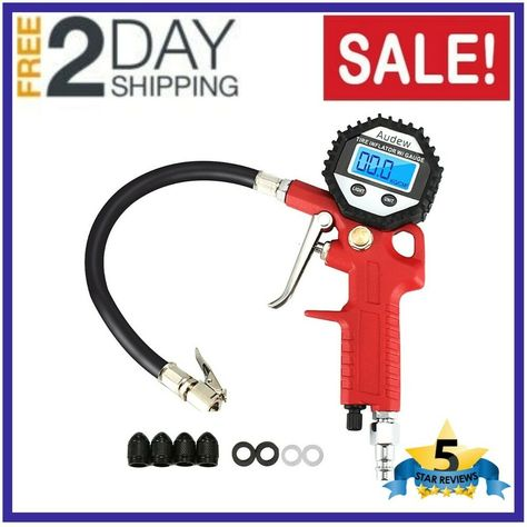 DUAL CHUCK TIRE INFLATOR WITH 120PSI AIR PRESSURE GAUGE RED RUBBER HOSE 20700