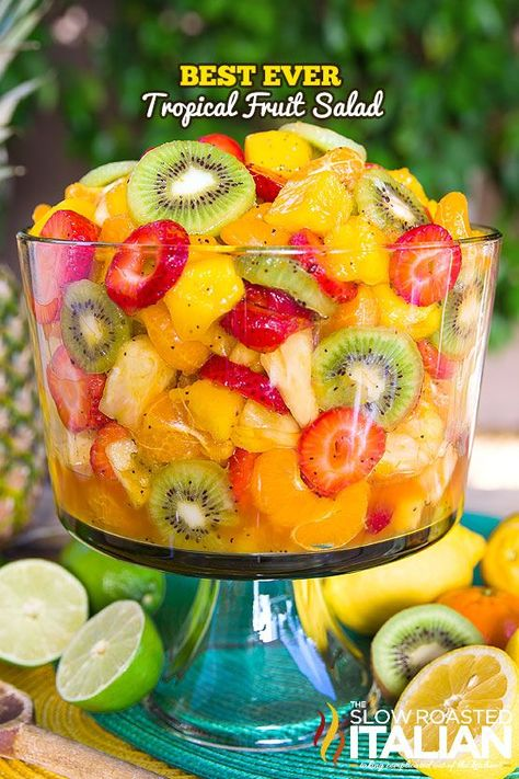 The Best Ever Tropical Fruit Salad is the only recipe you& ever need. The Best Ever Tropical Fruit Salad is the only recipe you& ever need. My entire picky family devoured this fruit salad. The dressing is truly ma. Tropical Fruit Salad, Hawaiian Fruit Salad, Pineapple Fruit, Tropical Party, Delicious Desserts, Yummy Food, Fruit Salad Recipes, Fruit Salads, Fruit Snacks