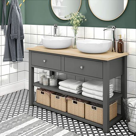 Trafalgar 1240mm Grey Countertop Vanity Unit And Double Round Basins Victorian Plumbing Uk Grey Countertops Vanity Units Bathroom Furniture