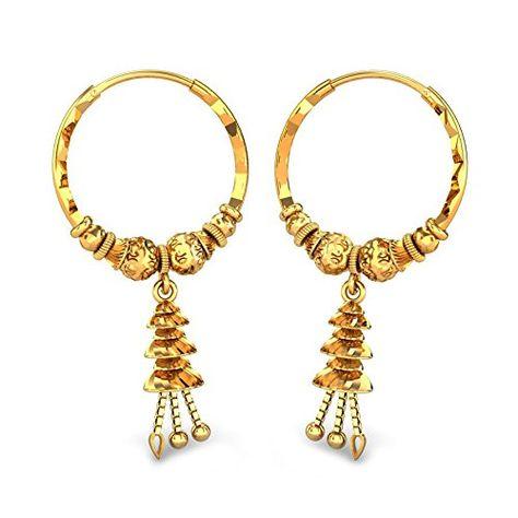 a9b3f125b Candere By Kalyan Jewellers 22k (916) Yellow Gold Kirsty Hoop Earrings