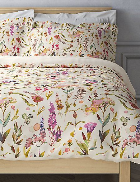 Watercolour Floral Print Cotton Sateen Bedding Set Cheap Bed