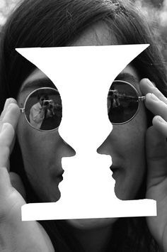 'Theme' of projected abstract ILLUSIONS: 'Black' and 'White' 'photography' of 'Lennon' with optical illusion 'art'