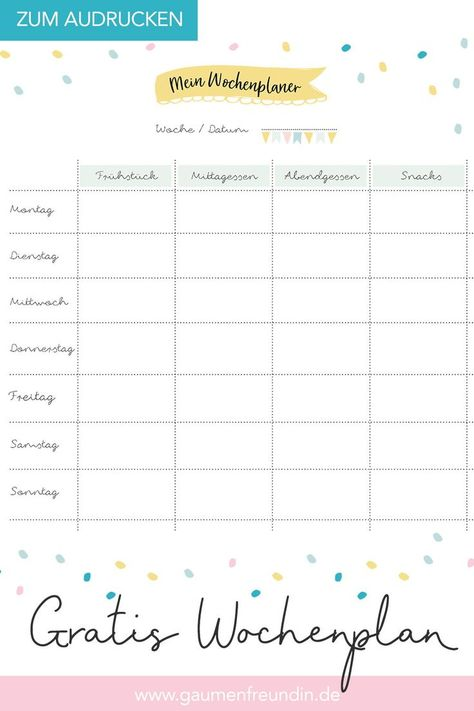 Free weekly plan template to print out for the menu - Healthy Food Art