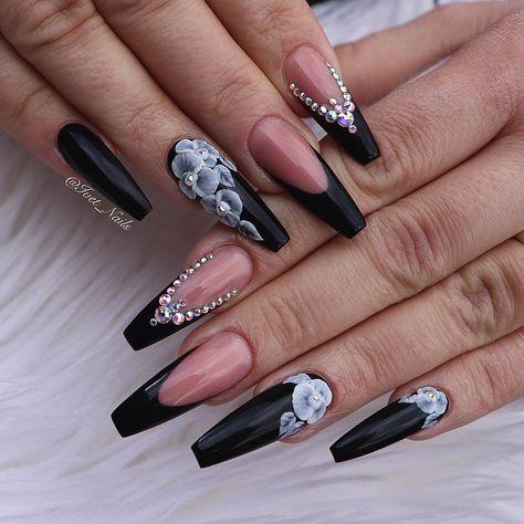 """524 Likes, 5 Comments - Iveta Melicharova (@ivet_nails) on Instagram: """"#nails #nails #rednails #nailswag #nailstagram #nailsart #blackhair #blacknails #allblack #black…"""""""