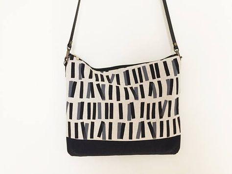 82683bab74 Shoulder bag with leather strap black leather bag black canvas ...