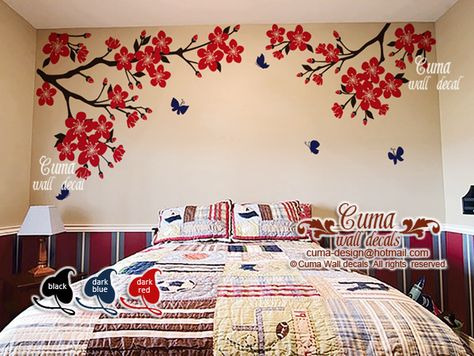Red flowers Nursery wall decal ,cherry blossom wall mural, butterfly wall art, name wall decal, playing room, office - z706 by cuma by Cuma wall decals, $66.00 USD