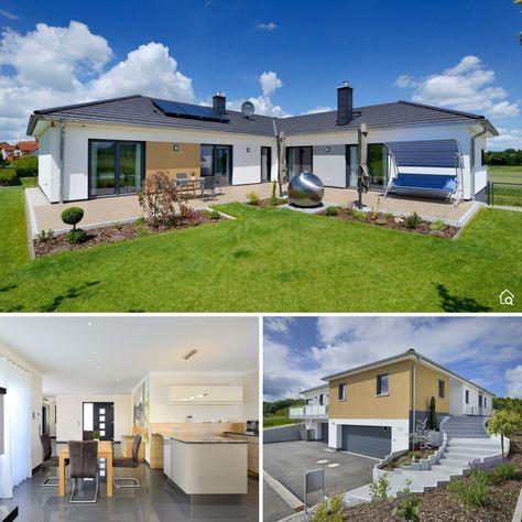 Winkelbungalow Modern Mit Walmdach Garage Bauen Massivhaus Bungalow Haus Ideen Innen Aussen In 2020 Haus Bungalow Bungalow Winkelbungalow