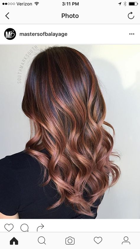 Rose Gold Brunette Balayage Hair Hair Styles Hair Color Balayage
