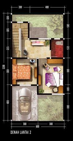 denah rumah dua lantai dengan luas lahan 148m2 luas total