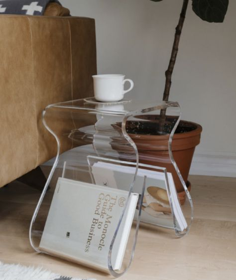 Magino Stool with Magazine Rack Clear - Umbra Karim Rashid, Acrylic Side Table, Decor Inspiration, Deco Originale, Rack Design, Piece A Vivre, Interior Decorating, Interior Design, Small Tables