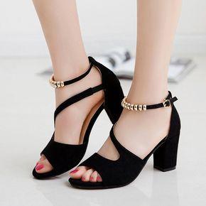 Women Fashion Peep Toe Bow Chunky High Heel Sandal Bandage Shoes Wish High Heel Sandals Heels Chunky Heel Shoes