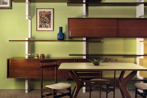 Tavoli E Sedie Vintage.Home Decor Libreria Anni 50 60 Tavolo E Sedie Vintage Di Design