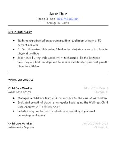 Child Care Resume Template  Resume Templates And Samples
