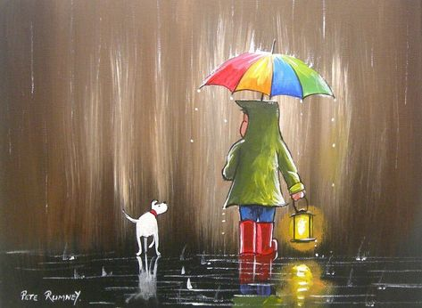 Pete Rumney Art Original Painting , Colours In The Rain , Lantern Lamplight NEW