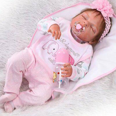 """22/"""" Wiedergeborene Babypuppe Handgemachte Vinyl Silikon Neugeborenen Doll DE"""