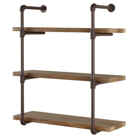 An urban chic storage solution for your rustic industrial interior, Danya B.'s Industrial Pipe Wall Shelf supports distressed wood finish planks with metal factory pipe fittings. Sturdy shelves hold books, office supplies, media or objets d'art. Industrial Interior Design, Vintage Industrial Furniture, Industrial Pipe, Industrial Shelving, Industrial House, Industrial Interiors, Urban Industrial, Mdf Shelving, Kitchen Industrial