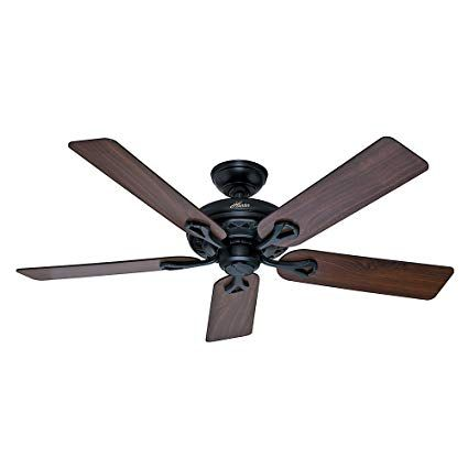 Hunter 53104 The Savoy 52 Inch Matte Black Ceiling Fan With Five Walnut Light Cherry Blades Review Black Ceiling Fan Ceiling Fan 52 Inch Ceiling Fan