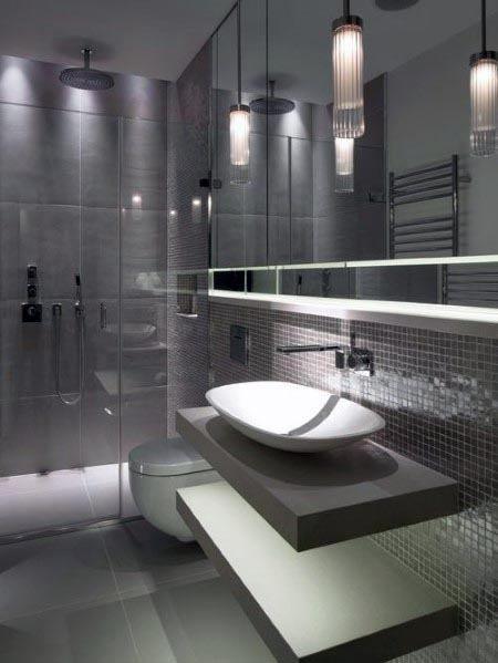 Top 60 Besten Grauen Badezimmer Ideen Interior Design Inspiration Badezimmer Badezimmer Komplett Badezimmer Fliesen