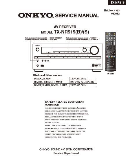 Onkyo TX-NR515 Audio/Video Receiver Service Manual + Schematics in