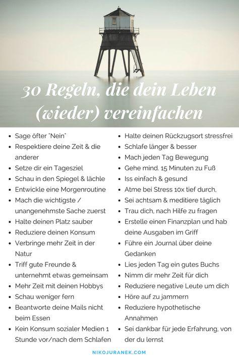 30 Regeln, die dein Leben (wieder) vereinfachen — Niko Juranek Blog Persönlichkeitsentwicklung