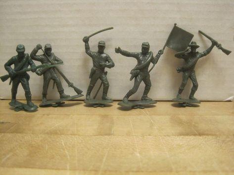 Marx Rayline Ray Toys Civil War Playset 5 Vintage 1960s 54mm Plastic Toy Soldier Soldat Spielzeug Kindheit