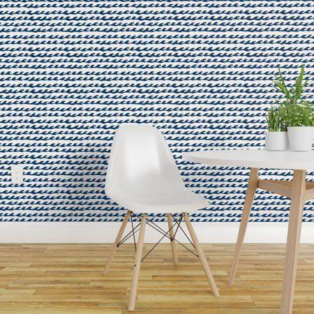 Peel And Stick Removable Wallpaper Surf Waves Navy Ocean Water Sea Nautical Walmart Com 10 In 2020 Removable Wallpaper Peel And Stick Wallpaper Accent Wall Bedroom