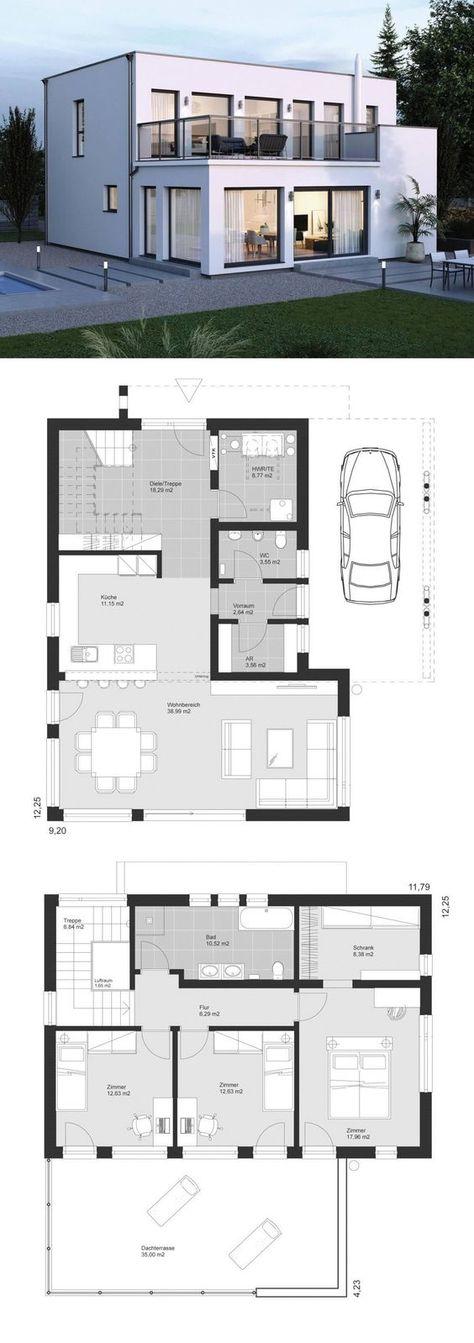 Moderne Stadtvilla Architektur Im Bauhausstil Mit Flachdach Carport Dachterrasse Einfamilienhaus Bauen Grundriss Architektur Baustil Einfamilienhaus Bauen