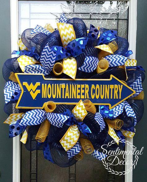 West Virginia Wreath,Collegiate Wreath,WV Football,BlueDeco Mesh Wreath,Mountaineer Pride,Fall Wreath,WV Alumni Gift,Sorority Wreath