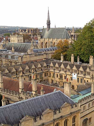 View from St Mary's Church tower - Oxford, England