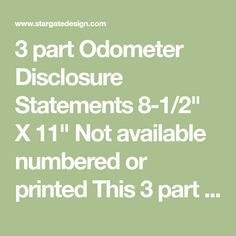 3 Part Odometer Disclosure Statements Foil Business Cards How