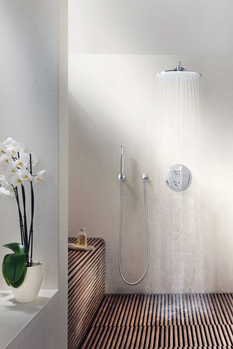 Jumbo rainshower by GROHE. Extra perk: this walk-in shower has no door, which means no glass to clean! (Pinned by (@GROHE)