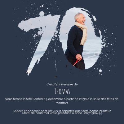 Carte D Invitation Anniversaire Touche 70 Ans Pour Homme Carte D