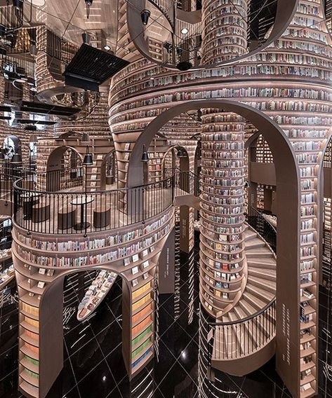 tall bookshelf arcs organize mesmerizing bookstore interior by x+living in china Beautiful Library, Dream Library, Grand Library, Library Architecture, Buch Design, Home Libraries, Secret Rooms, Book Aesthetic, Fantasy Landscape