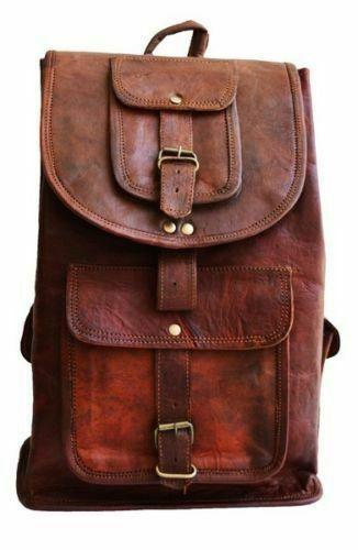 Men/'s Leather Laptop Backpack Weekender Travel Bag Shoulder School Bags Rucksack