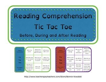 These tic tac toe games have reading comprehension prompts intended to help the students think deeper about what they're reading or listening to. There are two games for pre-reading, and three for each during and after reading. Just laminate them or slip them into a plastic sleeve so that they can be reused.