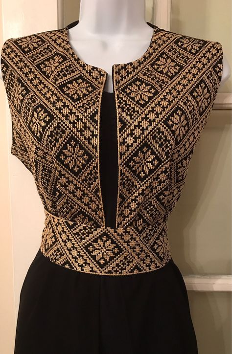 Long black Sleeveless Kimono / Vest / Jaket with Gold Palestinian Embroidery / corss stitch The belt is included in the price. The Kimono is also available in red embroidery
