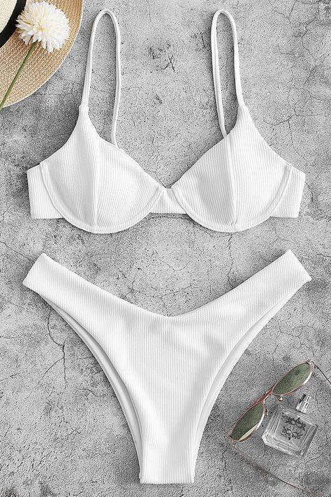Ribbed Underwire High Leg Bikini Swimsuit - White L