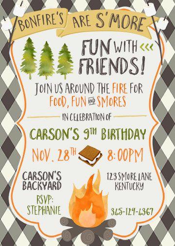 Boy Camping Smores Birthday Invite Bonfire by CherryBerryDesign