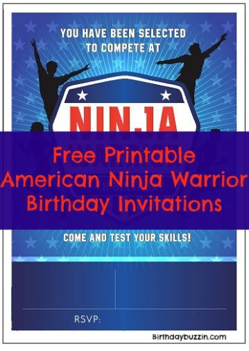Free Printable American Ninja Warrior Birthday Invitations