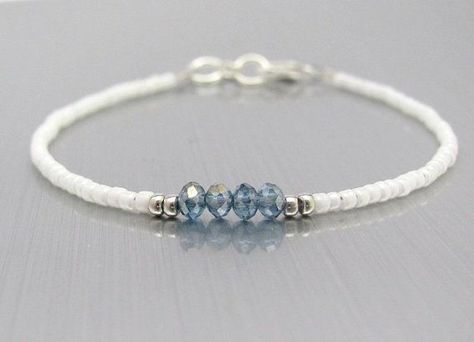 White Friendship Bracelet, Blue Crystal Beads, Seed Bead Bracelet, White Bracelet, Bridesmaid Gift, Minimal Bracelet, Hawaiian Jewelry