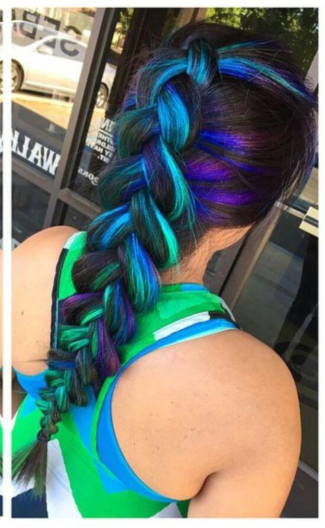 Neon blue green highlights oversized braid @makeupbyfrances