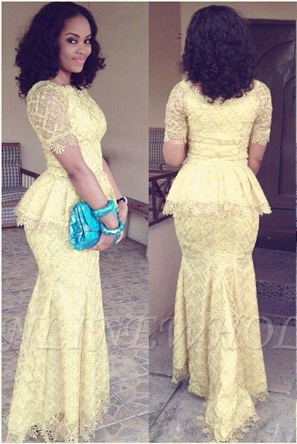Modern Lace Mermaid Yellow Prom Dress Short Sleeve In 2019