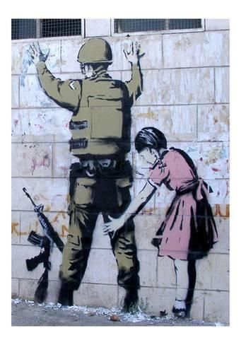 Giclee Print: Soldier Searched by a Girl by Banksy : 17x11in.-- Tanks that Get Around is an online store offering a selection of funny travel clothes for world explorers. Check out www.tanksthatgetaround.com for funny travel tank tops and more cool street art from around the globe