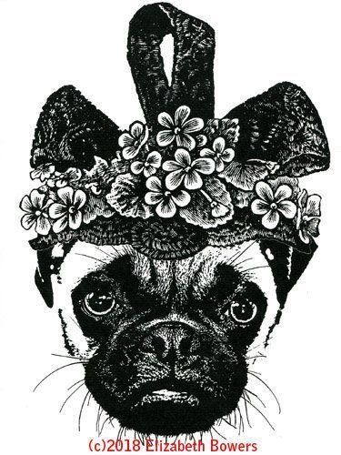 Female Pug Dog Flower Hat Original Art Print Ink Animal Pets