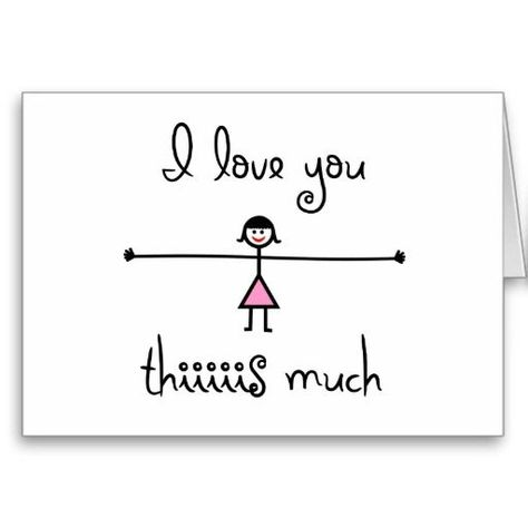 I Love You This Much Card! A cute line drawing cartoon card!  #iloveyou #happyvalentinesday