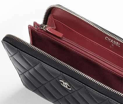 chanel zip wallet. chanel zip wallet in quilted lambskin (no noticeable card slots but compartments \u0026 zipped middle for change) - $1100 cheaper more durable cal\u2026 e
