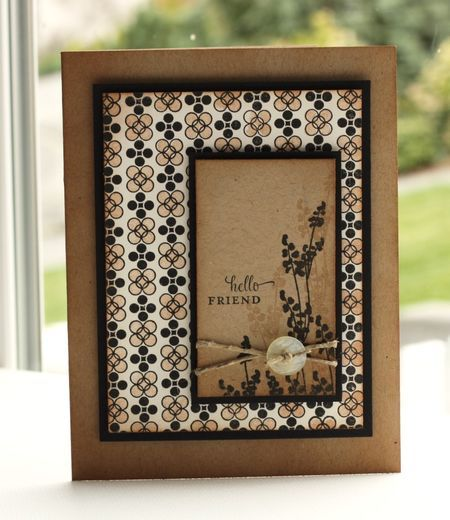 handmade card ... fraft paper with black ...PTI stamps ...  card by Lisa Johnson ... like the asymmetrical placement of the focal point panel on large panel of printed paper in the theme colors ... great card!