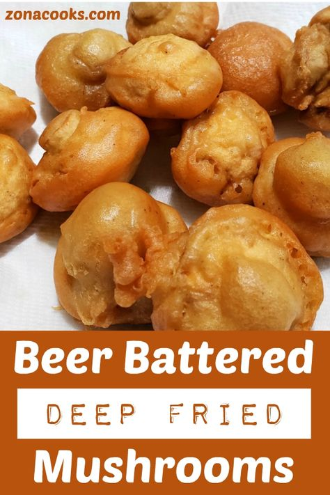 These Beer Battered Deep Fried Mushrooms are fried to a crispy golden brown with the perfect beer batter coating over delicious whole button mushrooms. Deep Fried Mushrooms, Battered Mushrooms, Stuffed Mushrooms, Wild Mushrooms, Yummy Appetizers, Appetizer Recipes, Beer Food Recipes, Vegetable Appetizers, Venison Recipes