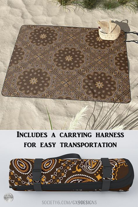 * Brown Bandanna Pattern Picnic Blanket / Beach Mat / Picnic Mat by #Gravityx9 at Society6 * Includes a carrying harness for easy transportation * Perfect for picnics, beaching, playdates, or any outdoor outing to protect from sand, grass, insects, and dirt grounds * summer beach mat* custom beach mat* #beachthrow # #summermat #picnicmat #picnicblanket #beachsupplies #beachaccessories #beachaccessory #poolside #poolaccessory #atthebeach #atthepark #picnicsupplies 0621